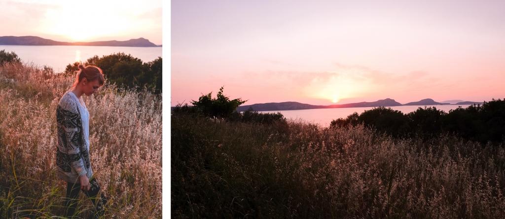 Coucher de soleil à Pylos en Grèce