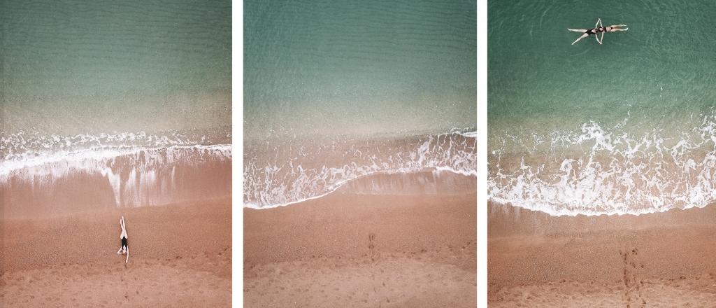 Tout est plus beau vu d'en haut. Drone shot de la plage de Costa Navarino