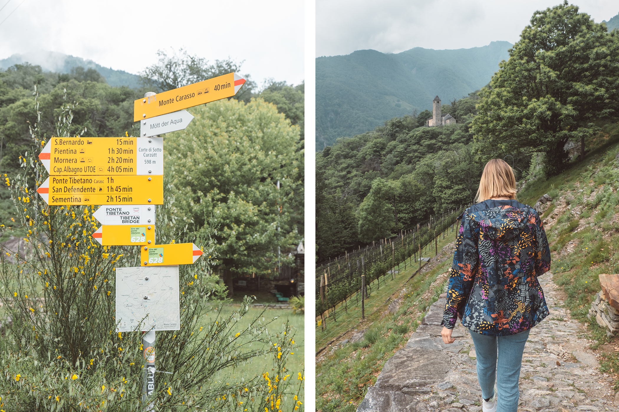 Panneau de randonnée vers le Pont Tibétain